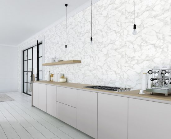 3D rendering of modern kitchen in a loft.