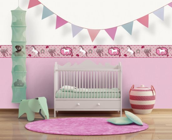 Rendering of a Baby's pink nursery room with flags and rug