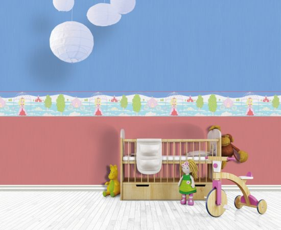 Empty children room with cradle, tricycle and stuffed toys on hardwood floor.