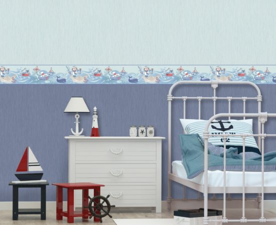 children's white bedroom in a marine style. 3d rendering image