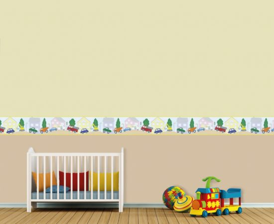Baby room with cradle and decoration on wall - 3D Rendering
